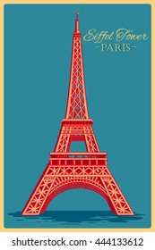 Vintage poster of Eiffel Tower in Paris famous monument of France. Vector illustration