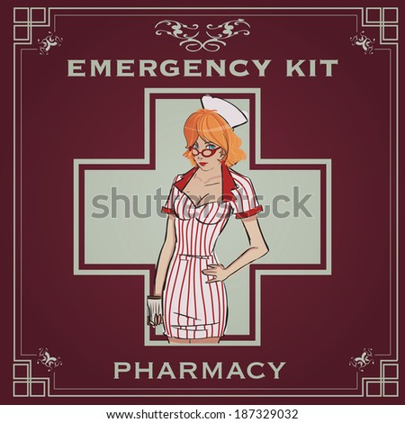 Vintage Poster Of An Emergency Kit With Retro Nurse Pin Up