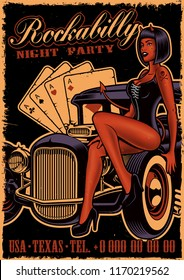 Vintage poster with girl devil on the classic car on dark background. Flyer template in rockabilly style.