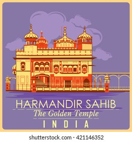 Vintage poster of Golden Temple in Amritsar, famous monument of India . Vector illustration