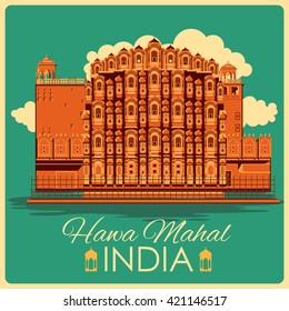 Vintage poster of Hawa Mahal in Rajasthan, famous monument of India . Vector illustration
