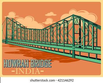 Vintage poster of Howrah Bridge in Kolkata, famous monument of India . Vector illustration