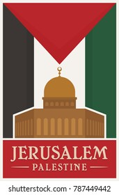 Vintage Poster of Jerusalem Old City, Palestine. Vector illustration, logo, and icon. eps 8. Flag of Palestine.