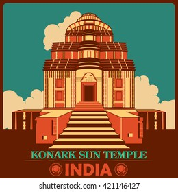 Vintage poster of Konark Sun Temple in Odisha, famous monument of India . Vector illustration