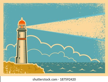 Vintage Poster with Lighthouse.Vector background on old paper texture