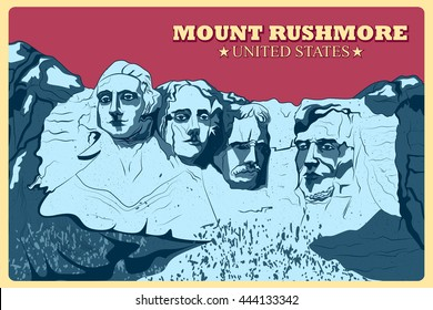 Vintage poster of Mount Rushmore famous monument of United States. Vector illustration