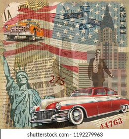 Vintage poster New York torn newspaper background.
