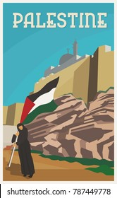 Vintage Poster for Palestine Propaganda. Flag of Palestine. Vector image eps 8. For to all media print.