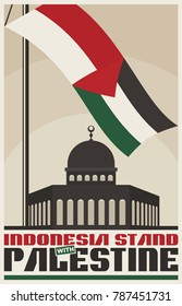 Vintage Poster for Palestine Propaganda. Flag of Palestine and Indonesia. Vector image eps 8. For to all media print.