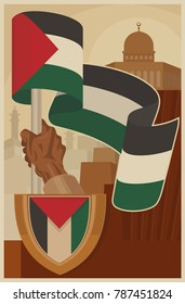 Vintage Poster for Palestine Propaganda. Flag of Palestine and Dome of Rock. Vector image eps 8. For to all media print.