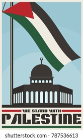 Vintage Poster for Palestine Propaganda. Flag or banner of Palestine. Vector image eps 8. For to all media print.