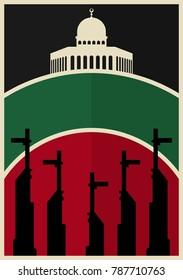 Vintage Poster for Palestine Propaganda. Vector eps 10 for all print media. Jerusalem landmark. Al Quds Dome of the Rock. Weapon AK47.