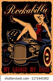 Vintage poster with pin up girl and hot rod  on dark back background. Text are on the separate layer.