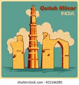 Vintage poster of Qutub Minar in Delhi, famous monument of India . Vector illustration