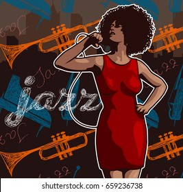Vintage poster with retro woman. Red dress on woman. Jazz, soul and blues live music concert poster.