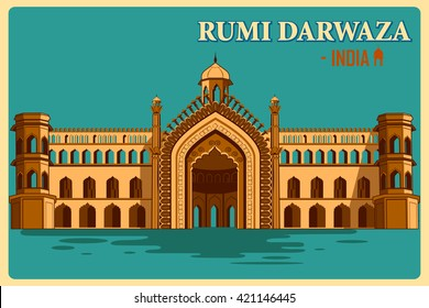 Vintage poster of Rumi Darwaza of Lucknow, famous monument of India . Vector illustration
