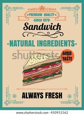 vintage poster sandwich menu party menu stock vector royalty free