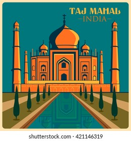 Vintage poster of Taj Mahal in Uttar Pradesh, famous monument of India . Vector illustration