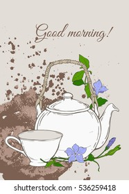 Vintage poster with teapot and cup and flowers of periwinkle on brown background. Vector illustration