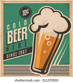Vintage poster template for cold beer.