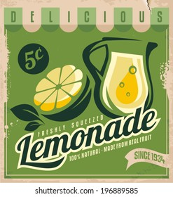 Vintage poster template for lemonade. Retro banner design with food and drink concept. Promotional printing material for healthy product.