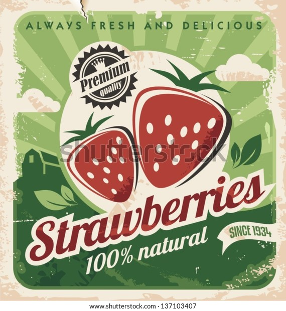 Vintage poster template for strawberry farm. Retro fruit label design. Vector old paper texture food background.