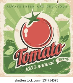 Vintage poster template for tomato farm. Retro vegetables label design. Vector old paper texture food background.
