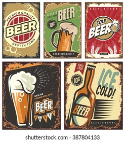 Vintage poster templates for cold beer.  Retro label or banners design collection. Retro beer vector signs set.