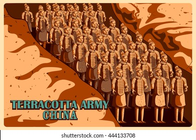 Vintage poster of Terracotta Army in Shaanxi, famous monument of China. Vector illustration