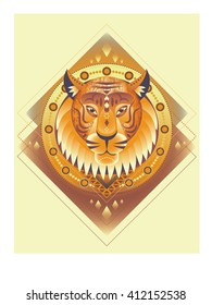 Vintage poster with tiger face. geometrical flat design.  Isolated icon for your design