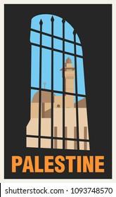 Vintage Poster Tourism of Palestine. Vector Illustration.