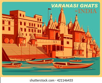 Vintage poster of Varanasi Ghats of Uttar Pradesh, famous place in India . Vector illustration