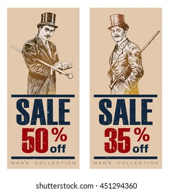 Vintage Posters, Banners or Flyers for End of Season. Biggest Sale with discount offer. Gentleman in a tuxedo and a top hat, holds a cane in hand. Vintage tags for premium quality and sale