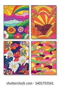 Vintage Posters Set Psychedelic Backgrounds from the 1960s Hippie Style Art