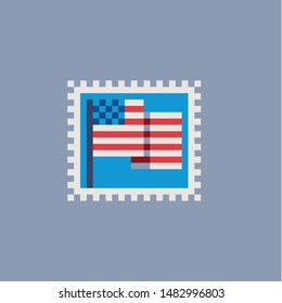 Vintage postmark American flag template pixel art icon, king, bee, teapot with tea, hare and wolf. Design for logo, sticker and mobile app. Сartoon flat style. Isolated vector illustration.