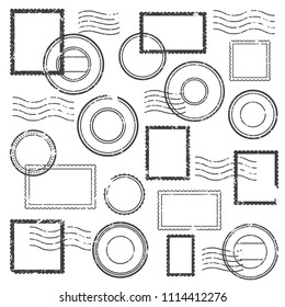 Vintage postmark cachet, postal watermark, post stamp mark icon and simple gray retro travel stamps for grunge post envelope package isolated vector label symbol clipart set