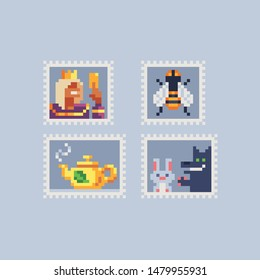 Vintage postmark template pixel art icon, king, bee, teapot with tea, hare and wolf. Design for logo, sticker and mobile app. Сartoon flat style. Isolated vector illustration.