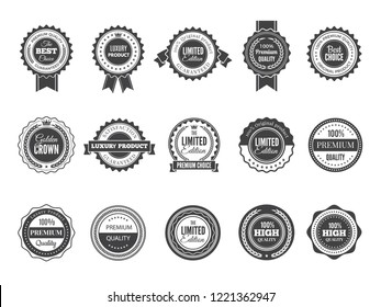 Vintage premium badge. Luxury high quality best choice labels or logos for stamps vector collection black template. Illustration of premium quality label, guarantee badge sticker