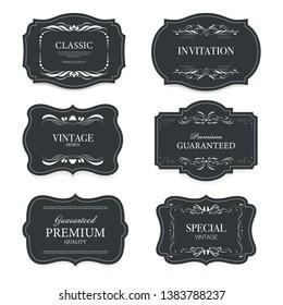 Vintage premium label banner badges set. Luxury decoration design. Collection banner.
