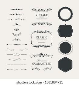 Vintage premium label collection Luxury decoration design. High quality tag premium guaranteed.