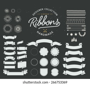 Vintage Premium Styled Ribbons, starbursts and shapes - Designers Collection
