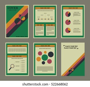 vintage presentation templates annual financial report stock vector