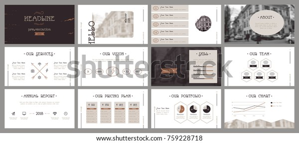 Vintage Presentation Templates Easy Use Creative Stock Vector
