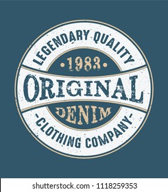Vintage print for t-shirt or apparel. Vector graphic with traditional denim theme and typography.