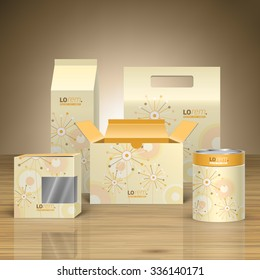 Vintage promotional package design for corporate identity with creative flowers and art round elements. Stationery set