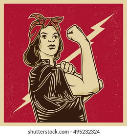 Vintage propaganda poster and elements. Retro Clip art of a feminist strong woman. Isolated artwork object. Suitable for and any print media need.