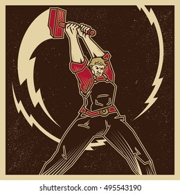 Vintage propaganda poster and elements. Retro Clip art of a Worker Swinging a Lightning Sledge Hammer. Isolated artwork object. Suitable for and any print media need.