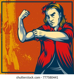 Vintage propaganda poster and elements. Retro Clip art of a feminist voice against power.