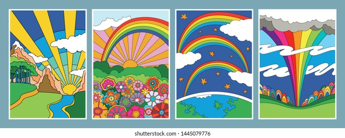 Vintage Psychedelic Art Landscapes Nature Scenes 1960s, 1970s Hippie Style Hand Drawn Posters