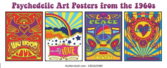 Vintage Psychedelic Art Posters from the 1960s Hippie Lifestyle Patterns, Psychedelic Colors and Decorations